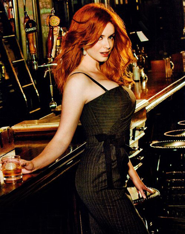 Christina Hendricks at a bar