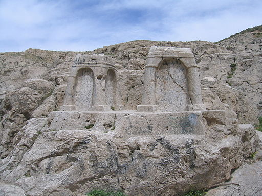 Two ossuaries near Naqsh-e Rostam, Fars, Iran. They were previously (< 1971) thought to be fire altars. photo by Arash Zeini