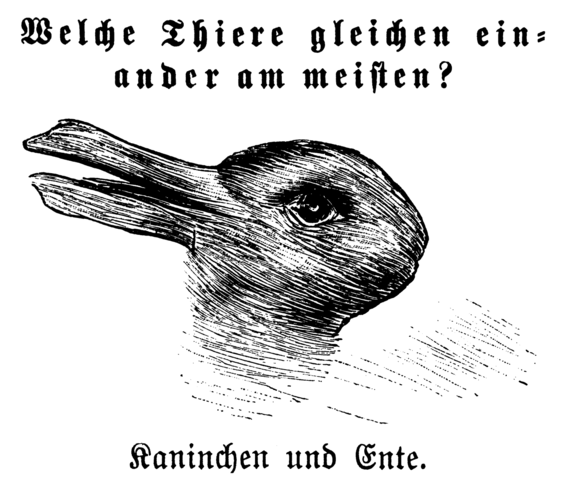 """Kaninchen und Ente"" (""Rabbit and Duck"") from the 23 October 1892 issue of Fliegende Blätter"