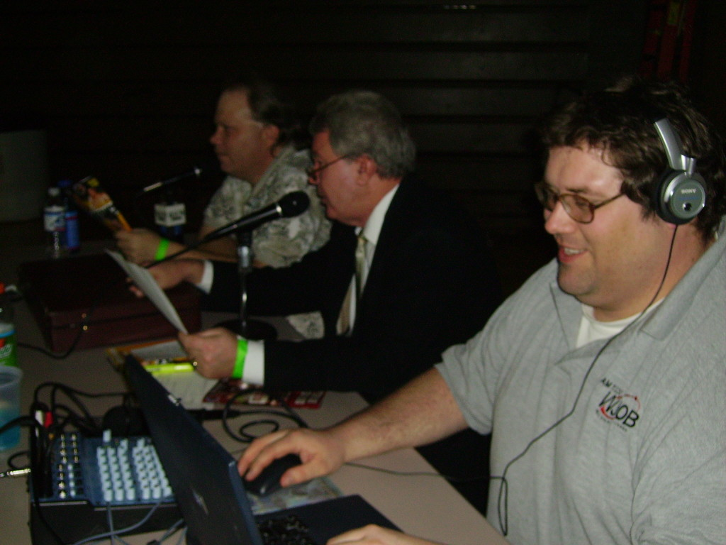 Working the audio as Fowler and Preacher call the boxing action at the Hammond Civic Center Feb. 24, 2006