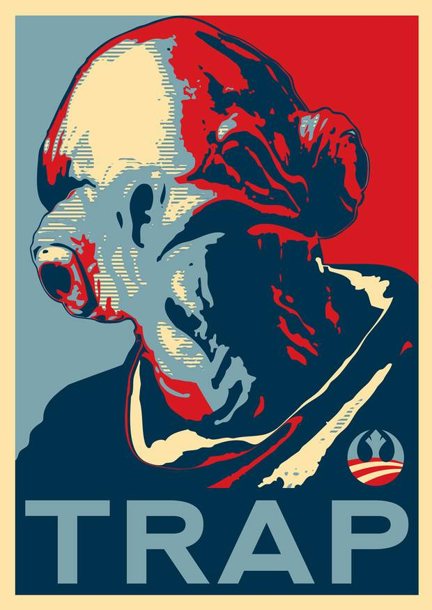 It's a trap: Admiral Ackbar's recreation of Shepard Fairey's infamous 'HOPE' poster featuring Barack Obama. David Eger/Rex Features